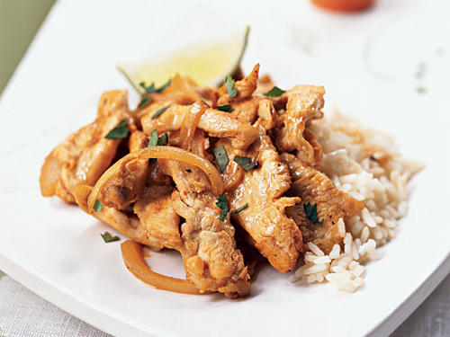 This dish incorporates the four tastes that make up classic Thai flavor: hot from Sriracha, sour from lime juice, salty from fish sauce, and sweet from coconut milk. With quick-cooking chicken, these ingredients come together in a flash for a simple dinner served over rice that's ready in less than 10 minutes.