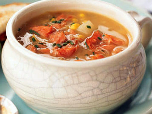 Sweet Corn Chowder with Hot-Smoked Salmon