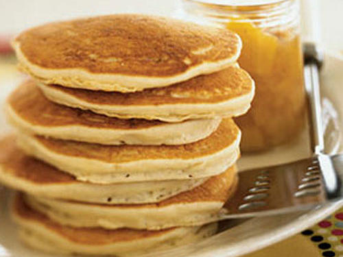 Coconut Pancakes with Orange-Mango Compote Recipe