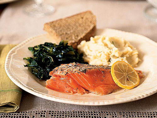 For a simple, Irish-inspired dinner, serve Roasted Wild Salmon and Dill with collard greens and a bowl of buttery mashed potatoes, known as champ in Ireland.