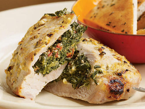Pork Chops Stuffed with Feta and Spinach Recipe