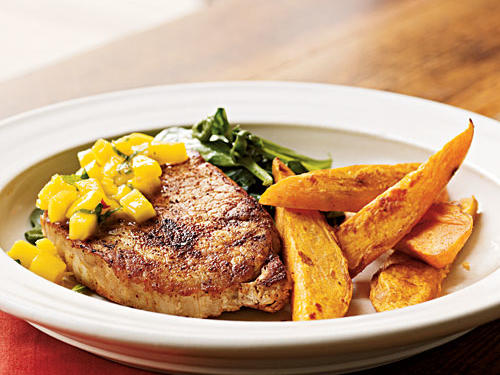 Spiced Chops with Mango-Mint Salsa Recipe
