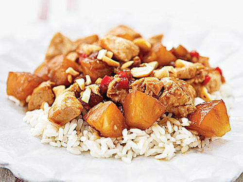 This dish has everything that makes the Chinese takeout version so tasty―tender chicken, fresh veggies, a thick sweet-tart sauce, and big chunks of pineapple―but it's a lot better for you, and you can make it faster than they can deliver. Crunchy cashews added at the end complete the dish.