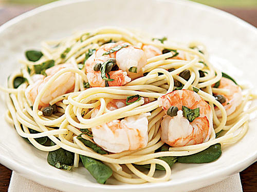 This easy dish can form the basis of dozens of dinners because it's so adaptable. Add some chopped fresh or sun-dried tomato for Mediterranean flair, or use arugula in addition to spinach for a more complex flavor. The simple olive oil-and-lemon dressing, along with the briny and piquant capers will match whatever you throw at them.