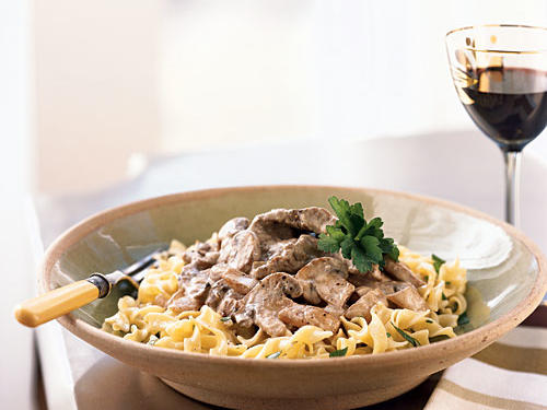 We made over this classic beef-and-noodles dish by cutting 30% of the calories and more than half the total fat. Presliced mushrooms saves you time at the cutting board.