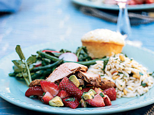 Chipotle Grilled Pork Tenderloin with Strawberry Avocado Salsa pairs beautifully with lemon orzo, haricots verts salad, and tasty cheese muffins. Relatives and friends will enjoy the menu's fresh seasonal flavors, perfect for spring gatherings like graduation parties, luncheons, or any special occasion.View Menu: Spring Luncheon