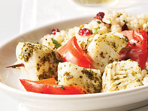 Low-Cal Pesto Halibut Kebabs