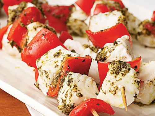 Fish may not be the most common kebab ingredient, but halibut's firm texture holds up very well here. Using prepared pesto makes this a snap to put together: Marinate five minutes, skewer, and cook eight minutes. Serve the kebabs with a grain like quinoa, bulgur, or farro for a healthful complete meal.