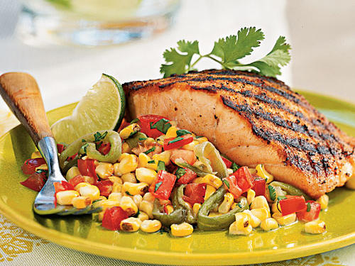 Grilled chiles and corn give the relish a wonderfully smoky flavor that pairs perfectly with grilled salmon seasoned with just salt, pepper, and cumin. Serve with a mixed green salad to round out the meal.