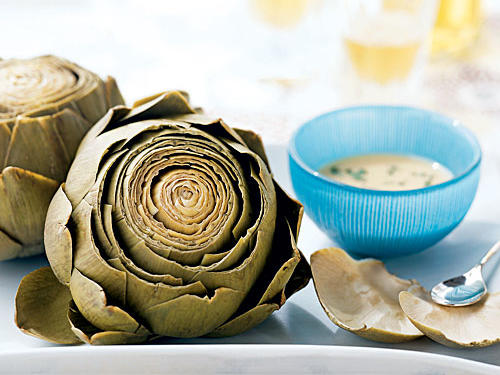 Artichokes with Roasted Garlic-Wine Dip Vegetarian Appetizer
