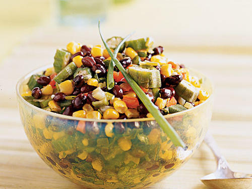 All the fresh flavors of summer are here in one bowl, minimally seasoned to highlight the tastes of the vegetables themselves and containing only 90 calories per hearty serving. Fresh corn and okra are best, of course, but if you're craving hot-weather flavor when it's snowing, both are available frozen year-round.