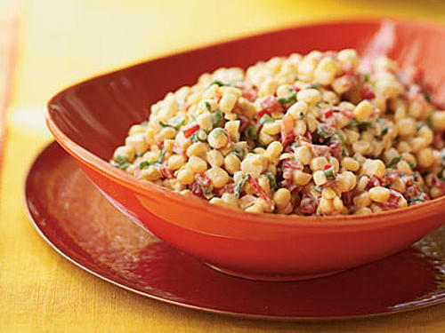 Fresh, sweet summer corn requires no cooking, which makes this corn salad a particularly appealing warm-weather side dish for grilled fish, poultry, or meat.