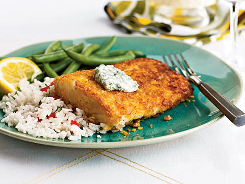 A dip in egg white and a dredge in crushed cornflakes gives this halibut a wonderfully crispy texture without deep-frying. The aioli, with fiery serrano and lots of garlic, blows tartar sauce out of the water. Just about any vegetable will pair well with this dish, or try it as a sandwich on hearty bread or Kaiser rolls.