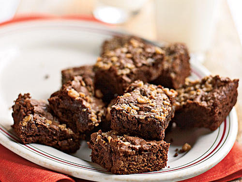 Ooey-gooey and rich with chocolate and coffee flavors, these brownies have a dense and fudgy texture that's just right. A topping of toffee chips that melts into the brownies during baking sets them apart in a delicious way.