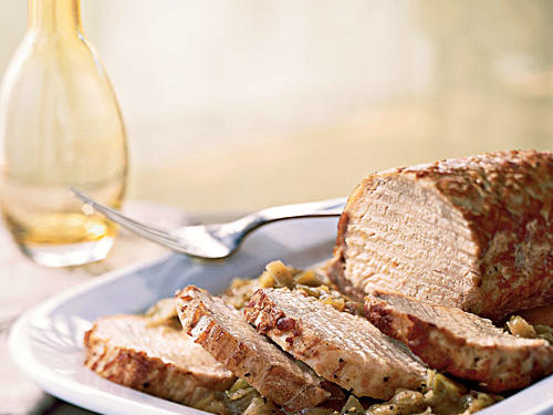 Lombo di Maiale Coi Porri (Pan-Roasted Pork Loin with Leeks)
