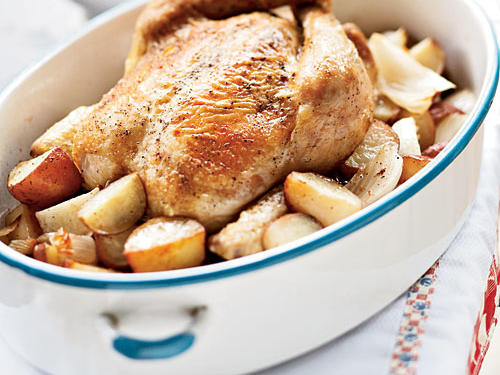Roasted Chicken with Onions, Potatoes, and Gravy
