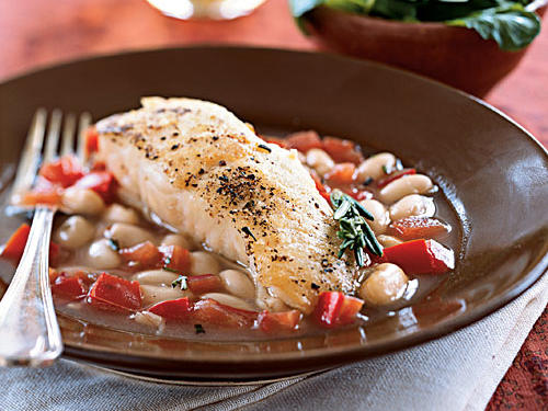 Halibut with White Beans in Tomato-Rosemary Broth