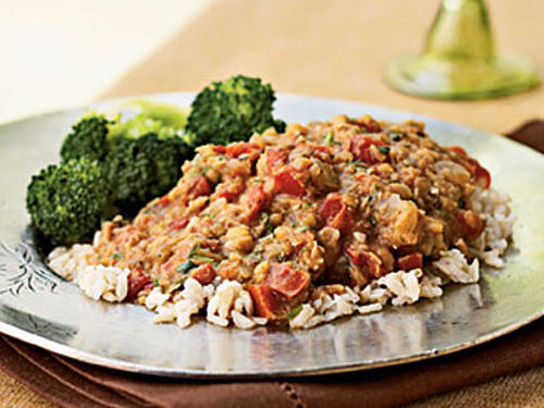 Quick-cooking red lentils don't need to be pureed since they break down as they cook. Lentils are a great source of protein, as well as fiber. This recipe gives 20 percent of your daily fiber goal. Serve over brown rice with a side of broccoli for a vegetarian meal.
