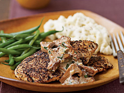 This dish puts dried porcini mushroom powder to use as a flavorful coating for chicken cutlets. If fresh porcini or chanterelle mushrooms are available, use them for the sauce. Serve with steamed haricots verts and garlic mashed potatoes.