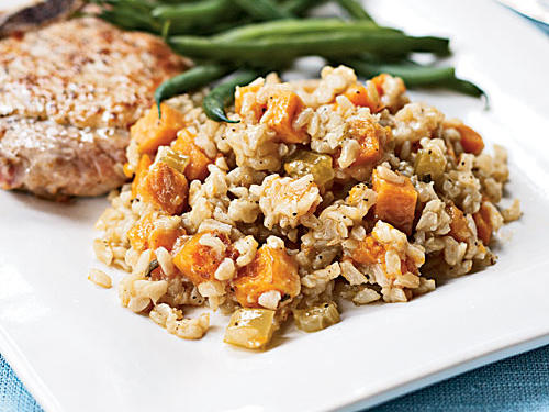 Hearty pumpkin and creamy sweet potatoes steal the show in this winter-weather pilaf. It's an ideal way to add fiber to your diet and a beautiful showcase for some underused winter vegetables.