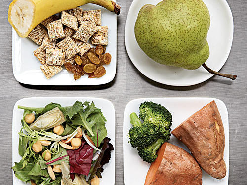 Four plates of high-fiber foods