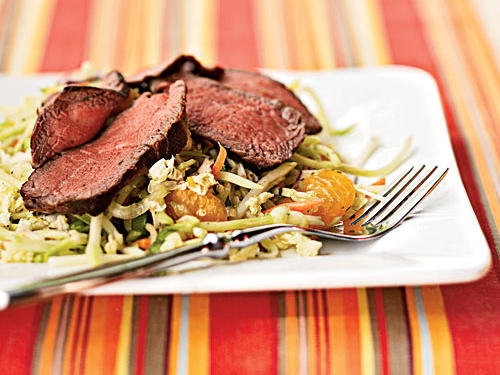 Not all beef dishes have to be stick-to-your-ribs hearty affairs; this salad is light, even refreshing, with its citrusy dressing and sweet surprise of mandarin oranges. Thin slices of tender steak add just the right amount of body to make this a complete meal. Cold leftovers make for a great brown-bag lunch the next day, too.