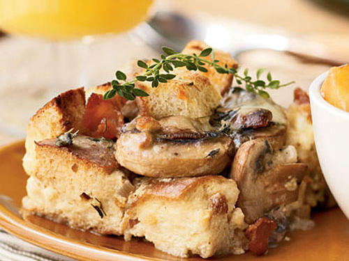 Mushroom, Bacon, and Swiss Strata
