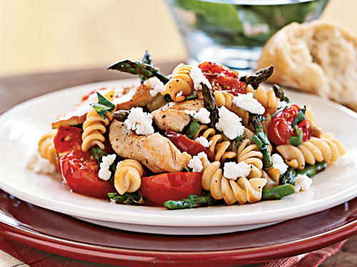 Reminiscent of a pasta salad, this recipe coats rotini and colorful vegetables with a basil-flecked balsamic vinaigrette.