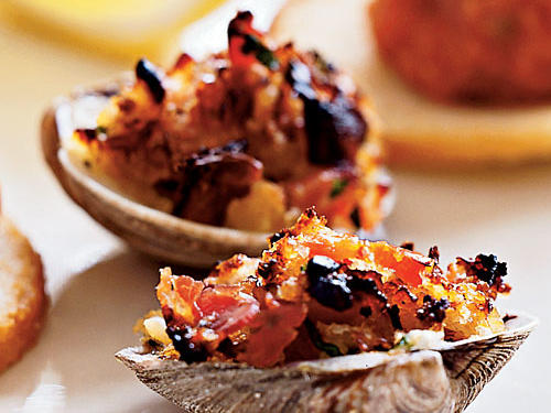 Get black-tie elegance in about 20 minutes with this appetizer. The meaty pancetta and salty Parmesan flavors match the sweet and briny clams just perfectly. A great recipe for a cocktail party or a menu of heavy hors d'oeuvres.