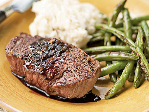 Next time you order a meaty meal, ask the server if the portion can be cut to 4 or 6 ounces.  Normal servings in restaurants are 8 to 12 ounces, twice the amount needed at a sitting. A 4-ounce portion of beef is shown in this delicious recipe.