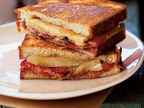 This sweet and decadent kiddie fave actually has a lot of nutritional benefit going for it. One 436-calorie sandwich provides 10 percent of a day's calcium and 4.6 grams of fiber, and is a good source of heart-healthy unsaturated fats. Also, it contains banana, strawberry, pineapple, peanut butter, honey, and chocolate. No wonder it received the Test Kitchen's top rating.