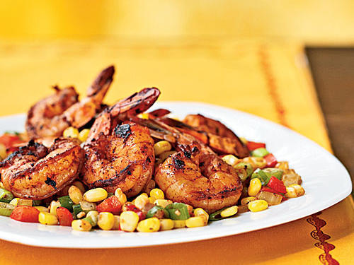 Three Chile Dusted Shrimp With Quick Corn Relish