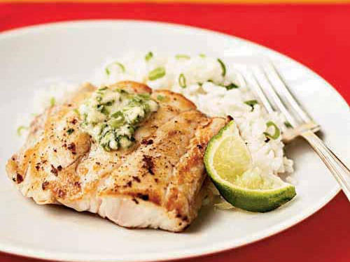 Low-Cal Broiled Red Snapper with Ginger-Lime Butter