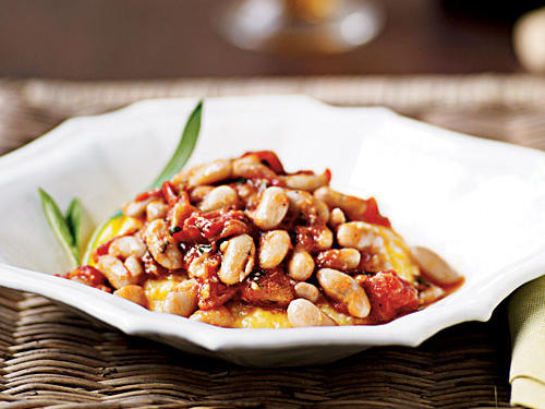 Polenta with Tomato-Braised Beans