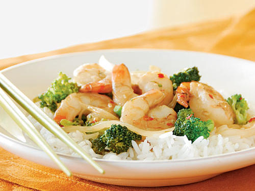 This recipe is a model of versatility for a quick weeknight dinner. You can swap out the shrimp for chicken, steak, or even tofu, and replace the broccoli with any other quick-cooking vegetable you like (yellow squash, pea pods, or eggplant are all great choices). The easy cornstarch-thickened sauce will go with just about any stir-fried veggies or meats as well, with its balanced blend of tart rice vinegar, salty soy sauce, and nutty sesame oil.