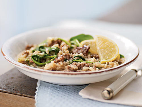 Healthy Risotto with Italian Sausage, Caramelized Onions, and Bitter Greens Recipe