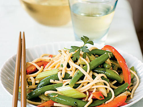 This light and fresh pasta salad, with its easy sweet-sour-spicy dressing, is wonderfully versatile. Serve as a side to just about any pork, beef, or salmon dish, or mix in canned tuna, leftover chicken, or chopped hard-boiled egg for a simple and healthful brown-bag lunch at work or school.