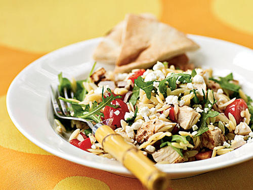 This delicious salad is ready in a snap thanks to rotisserie chicken and a four-ingredient vinaigrette. Leftover salad is also good the next day for lunch; stir in a handful of arugula to add a fresh touch, if you have extra on hand. Serve with pita wedges.