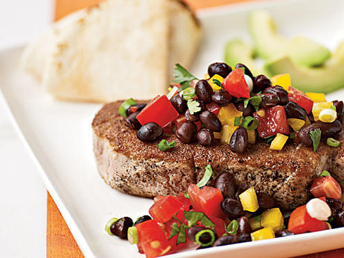Coriander-Crusted Tuna with Black Bean Salsa