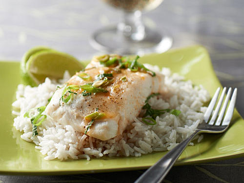 Steamed Halibut with Sesame-Lime Sauce and Coconut Rice