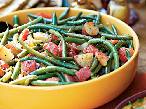 The crisp, fresh green beans and smooth, tender potatoes create nice texture contrast, and the easy sauce is a good match for nearly any main-dish flavor. It would make an especially great side for roasted chicken, whether our five-star homemade version or time-saving rotisserie chicken from the supermarket.