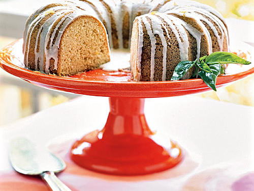 Pound Cake with Lemon-Basil Glaze