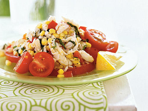 You can pick up lump crabmeat from your grocery's seafood counter. It's an easy no-cook addition to salads, sandwiches, dips, and soups. Here, the tart dressing contrasts with the sweet corn, tomatoes, and crab.