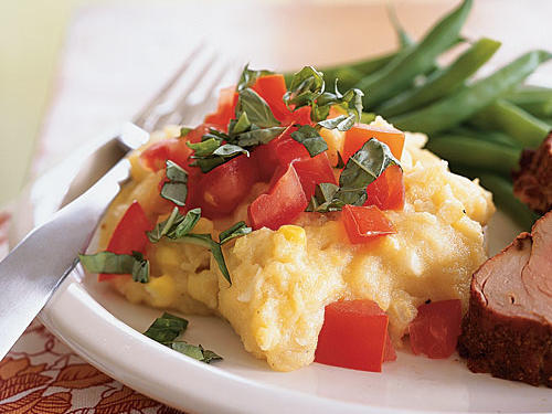 Two-Corn Polenta with Tomatoes, Basil, and Cheese