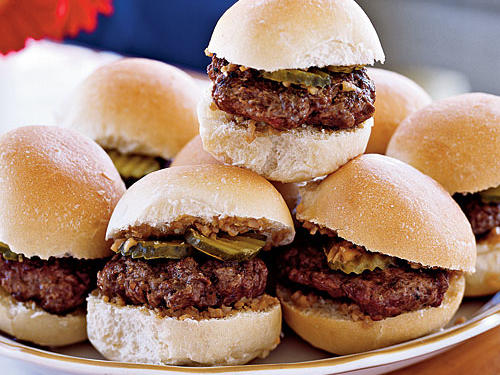 These mini-burgers make fun and tasty appetizers. Although we enjoyed them on Parker House rolls, they would also be tasty on small dinner rolls or sweet Hawaiian bread rolls.