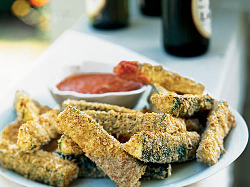 Parmesan Zucchini Sticks with Smoky Roasted Romesco Sauce Vegetarian Appetizer