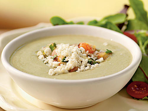 This soup is just about the fastest possible recipe: Throw everything in a blender and puree, no cooking involved. The result is a refreshing and creamy main-dish soup that's packed with fiber, protein, and healthy fats. Jalapeño adds just a hint of heat, the tangy shrimp relish gives texture and meatiness, and a nice salty bite from queso fresco tops everything off.