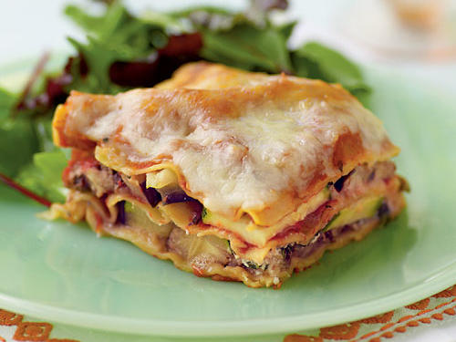 This zucchini eggplant lasagna makes use of fresh summer produce in a filling meatless entrée.