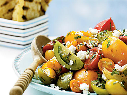 Use a combination of your favorite tomato varieties in this recipe. We like a mix of red Brandywine, Green Zebra, and Persimmon for the beefsteak tomatoes, and Sungold, Yellow Pear, and Green Grape for the cherry tomatoes.