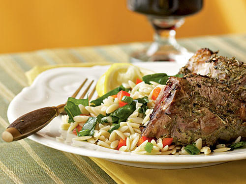 Try your hand at a little French cuisine in the comforts of your own home, with this lamb chop and orzo recipe. Garnish each plate with a lemon wedge and thyme sprig, and pair with a glass of fruity red wine to create a Provençal menu.